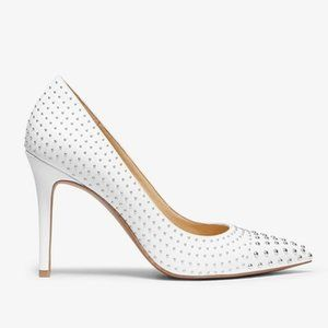 Michael Kors Claire Studded Leather Pump White 9.5